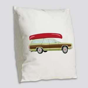 Station Wagon and Canoe Burlap Throw Pillow