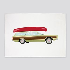 Station Wagon and Canoe 5'x7'Area Rug
