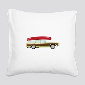 Station Wagon and Canoe Square Canvas Pillow