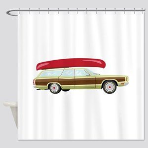 Station Wagon and Canoe Shower Curtain
