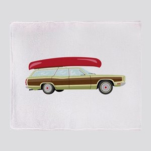 Station Wagon and Canoe Throw Blanket