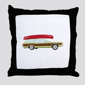 Station Wagon and Canoe Throw Pillow