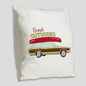 Great Outdoors Burlap Throw Pillow