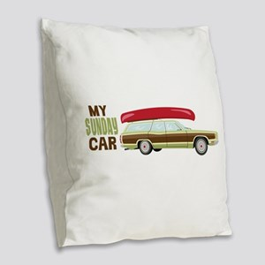 My Sunday Car Burlap Throw Pillow
