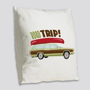 Road Trip Burlap Throw Pillow