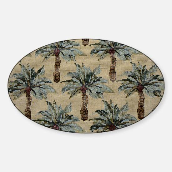Palm Trees Fabric Pattern Sticker (Oval)