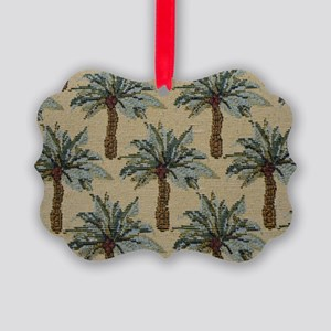 Palm Trees Fabric Pattern Picture Ornament