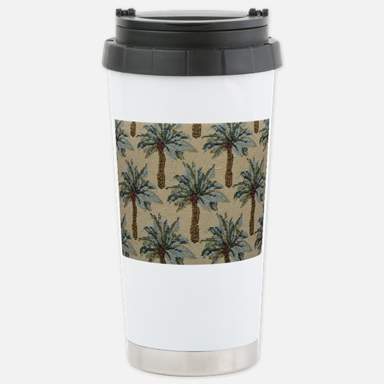 Palm Trees Fabric Patte Stainless Steel Travel Mug