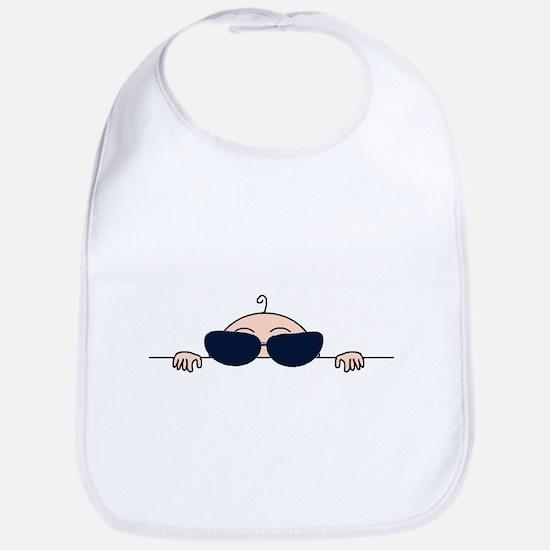 Sunglasses Baby Peeking Bib