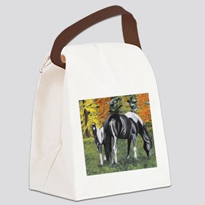 Fall Mare and Foal Canvas Lunch Bag