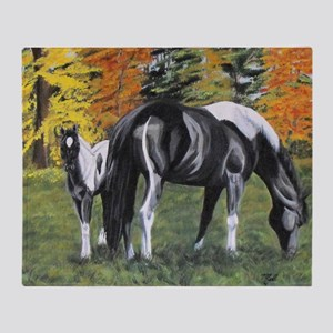 Fall Mare and Foal Throw Blanket