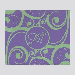 Your Monogram Whimsy Purple Throw Blanket