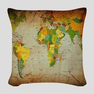 World Map V Woven Throw Pillow