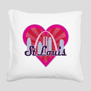 St Louis Skyline Sunburst Heart Square Canvas Pill
