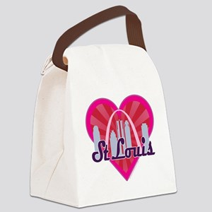 St Louis Skyline Sunburst Heart Canvas Lunch Bag