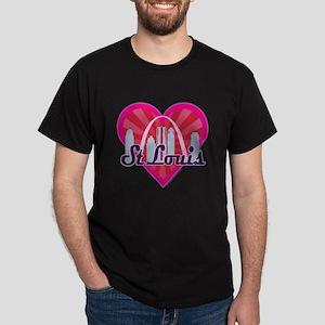 St Louis Skyline Sunburst Heart T-Shirt