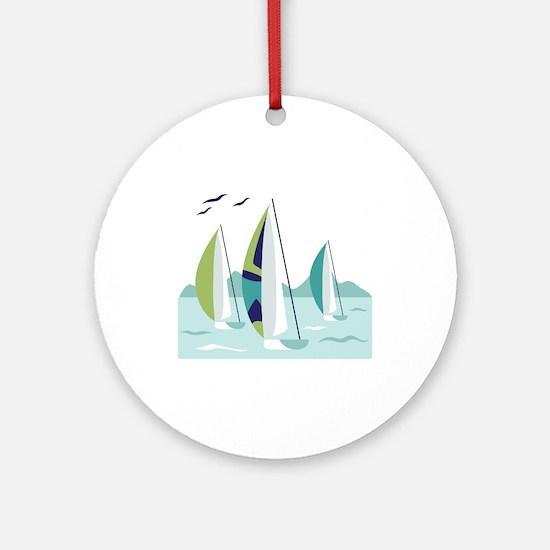 Sail Boat Race Ornament (Round)