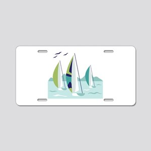 Sail Boat Race Aluminum License Plate
