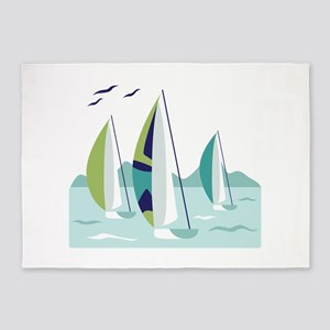 Sail Boat Race 5'x7'Area Rug