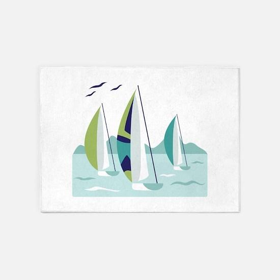 Sail Boat Race 5'x7'Area Rug