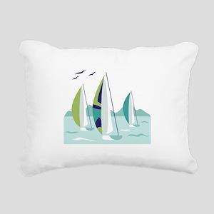 Sail Boat Race Rectangular Canvas Pillow