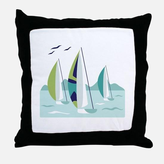 Sail Boat Race Throw Pillow