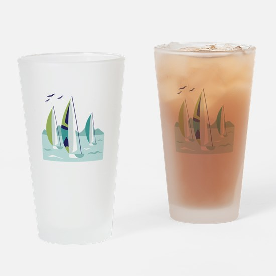 Sail Boat Race Drinking Glass