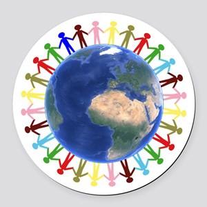 One Earth - One People Round Car Magnet