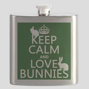 Keep Calm and Love Bunnies Flask