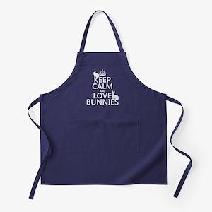 Keep Calm and Love Bunnies Apron (dark)