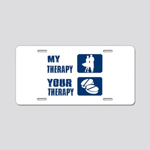 LINEDANCE is my therapy Aluminum License Plate