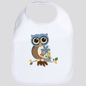 Owl With Flowers Bib