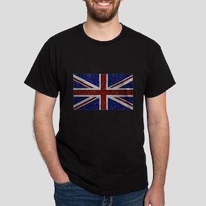 Glitters Shiny Sparkle Union Jack Flag T-Shirt