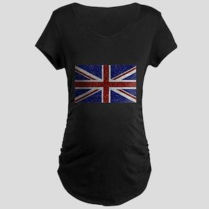 Glitters Shiny Sparkle Union Jack Flag Maternity T