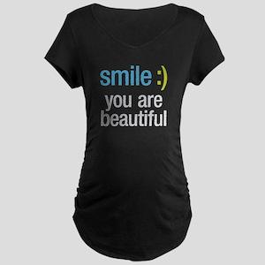 Smile Beautiful Maternity Dark T-Shirt