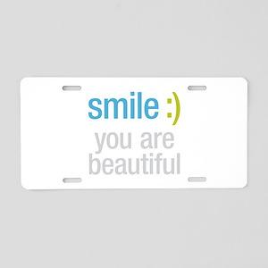 Smile Beautiful Aluminum License Plate