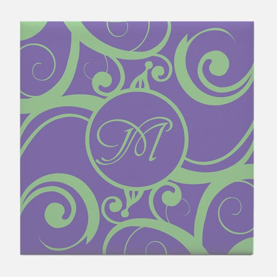 Your Monogram Whimsy Purple Tile Coaster