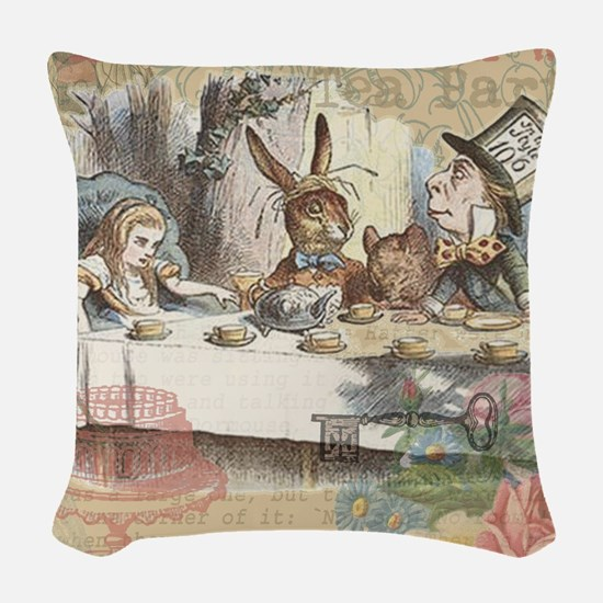 Mad Tea Party Woven Throw Pillow