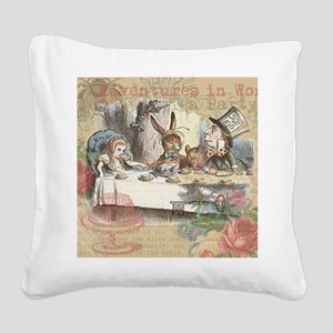 Mad Tea Party Square Canvas Pillow