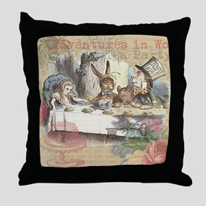 Mad Tea Party Throw Pillow