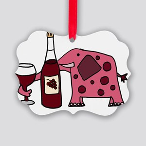 Pink Elephant Drinking Wine Picture Ornament