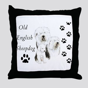 Sheepdog prints Throw Pillow