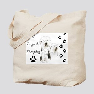 Sheepdog prints Tote Bag