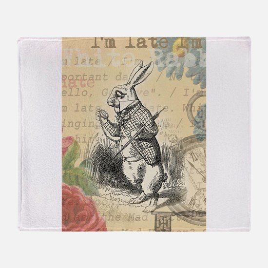 White Rabbit from Alice in Wonderland Throw Blanke