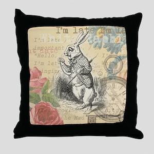 White Rabbit from Alice in Wonderland Throw Pillow