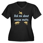 Ask About Rescue Mutts Women's Plus Size V-Neck Da