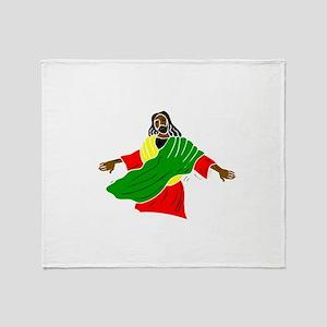 Black Jesus Throw Blanket