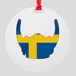 Swedish Viking Helmet Round Ornament