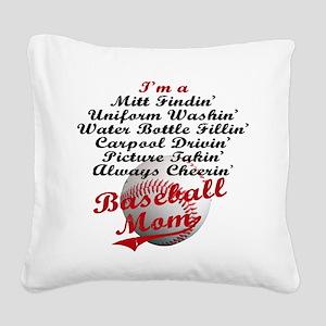Baseball_Mom Square Canvas Pillow
