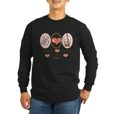 Peace Love Boba Bubble Tea Long Sleeve T-Shirt